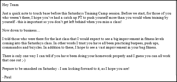 A note from head trainer Paul - gulp!